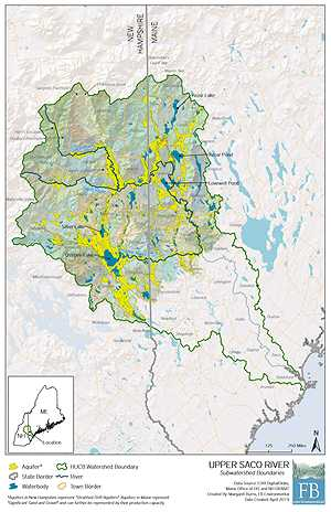 Saco River headwaters map